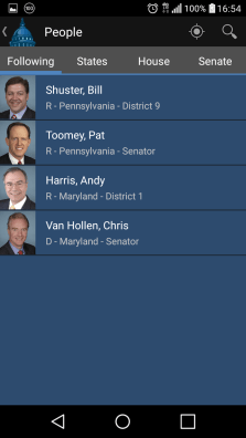 The app allows you to make a list of favorite congressmen.