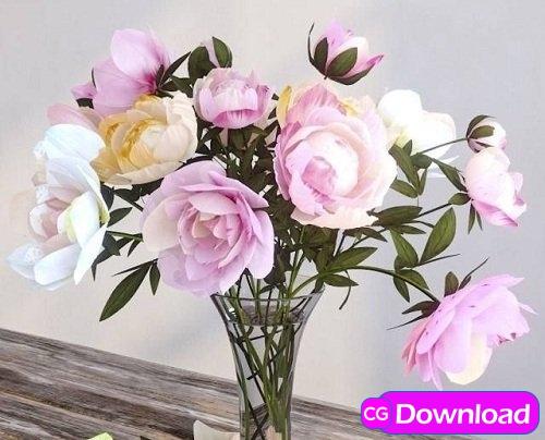 Download Pions Flower 3d Model Free