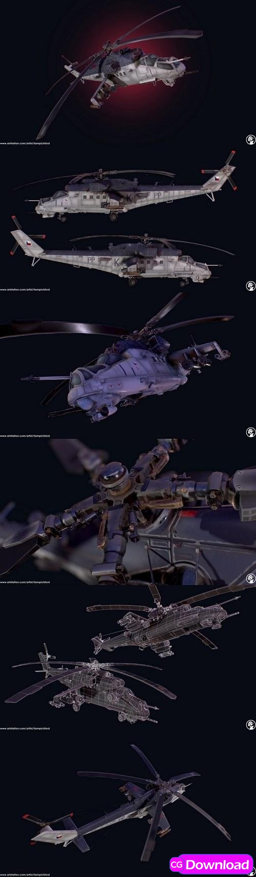 Download Mi24 Helicopter 3D Model Free