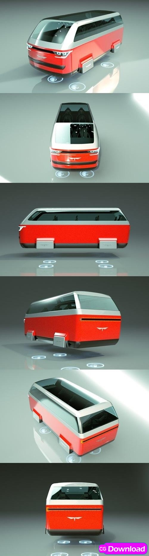 Download T-Hover Minivan Car 19 – Cheap & Cool series – 3D Model Free