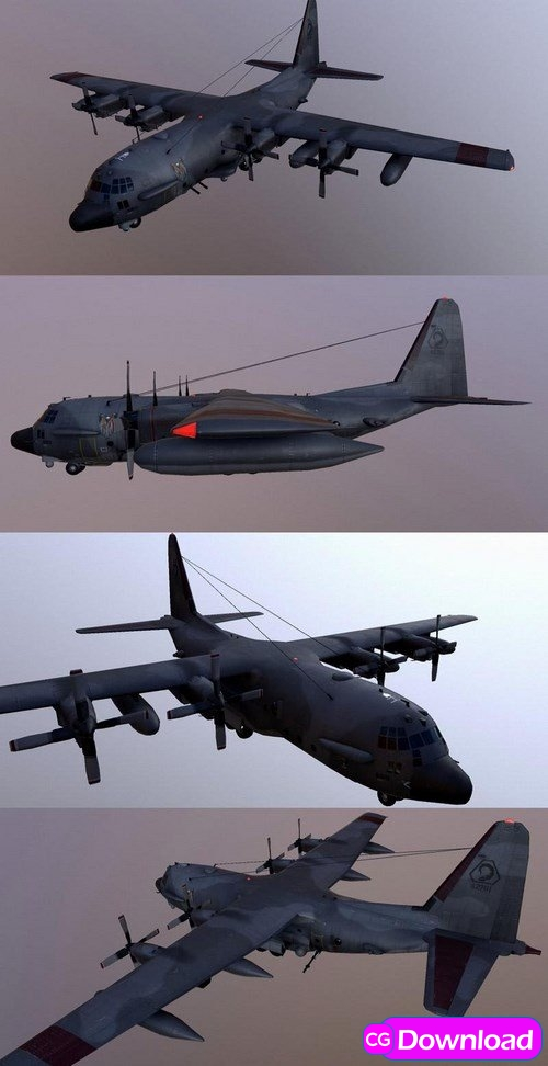 Download AC-130 Spectre Assault Plane – 3D Model Free