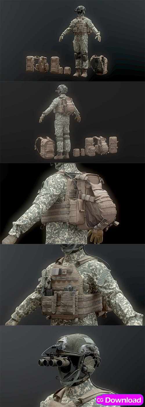 Download Cgtrader – SOLDIER complete Pack 3D model Free