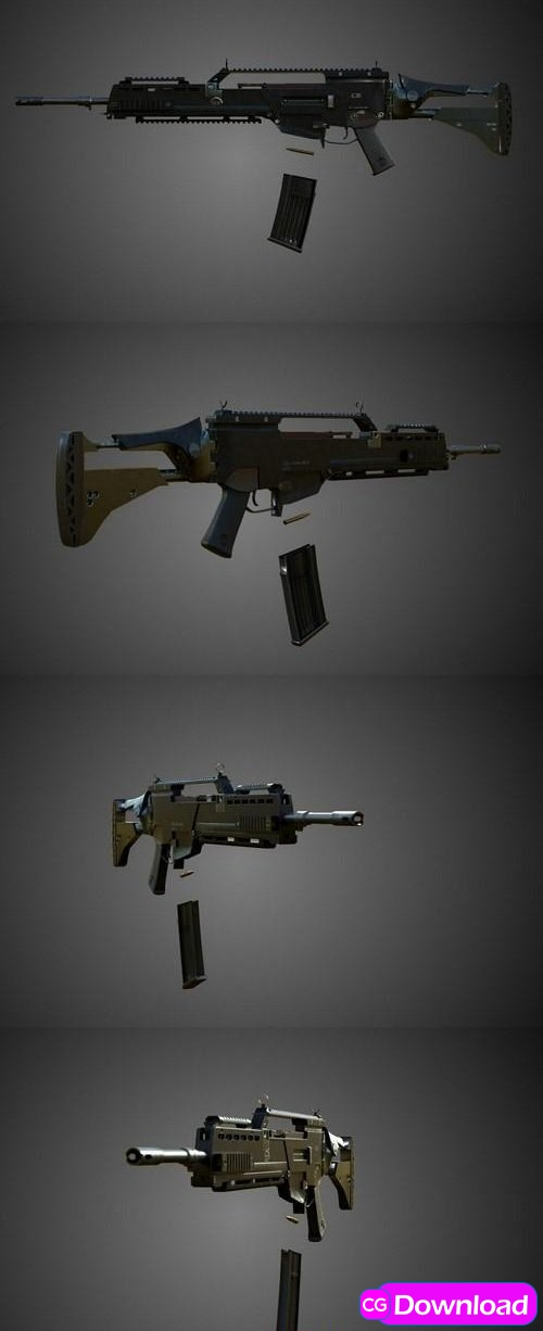 Download Assault Rifle (Gameready, Rigged) Free