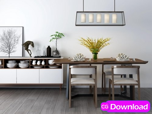 Download  Modern dining table and sideboard combination 3D model Free