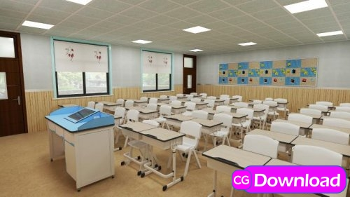 Download  Modern classroom 3d model Free