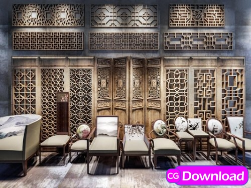 Download  Single chair solid wood carved screen partition combination 3D model Free
