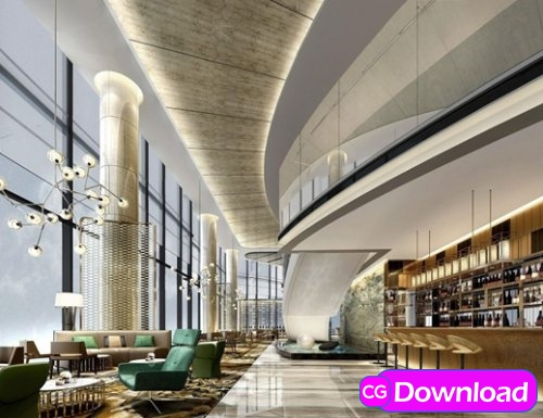 Download  Hotel Lobby 3d model Free