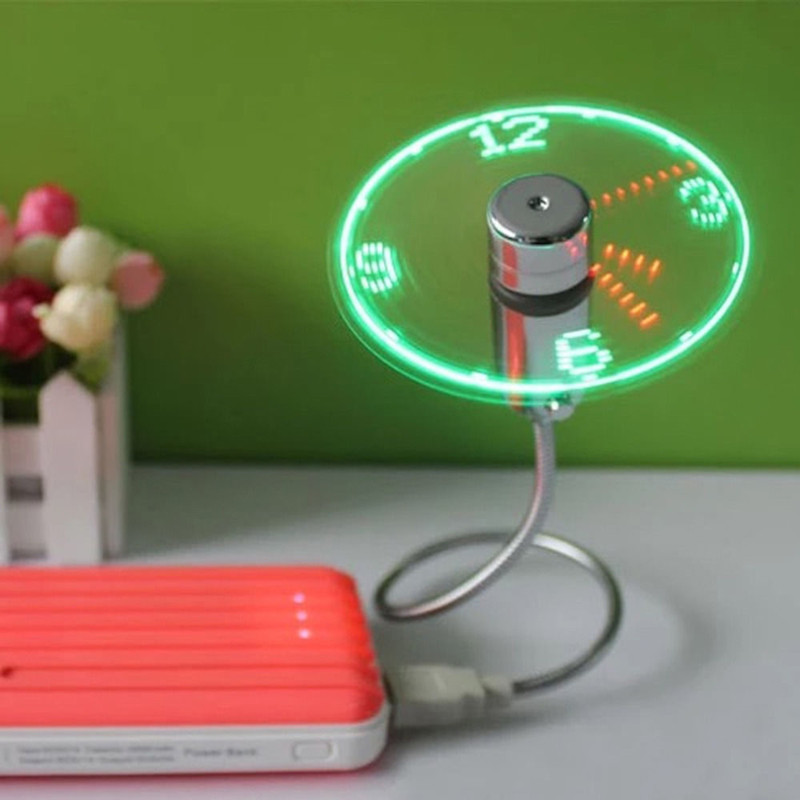 Mini USB Fan Flexible Gooseneck LED Clock Cool 2