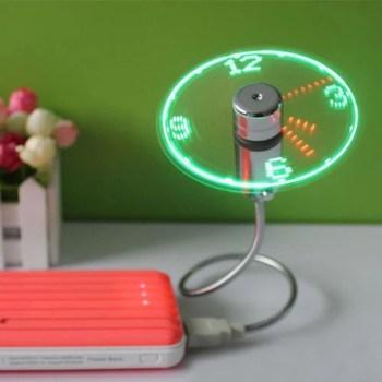 Mini USB Fan Flexible Gooseneck LED Clock Cool 7