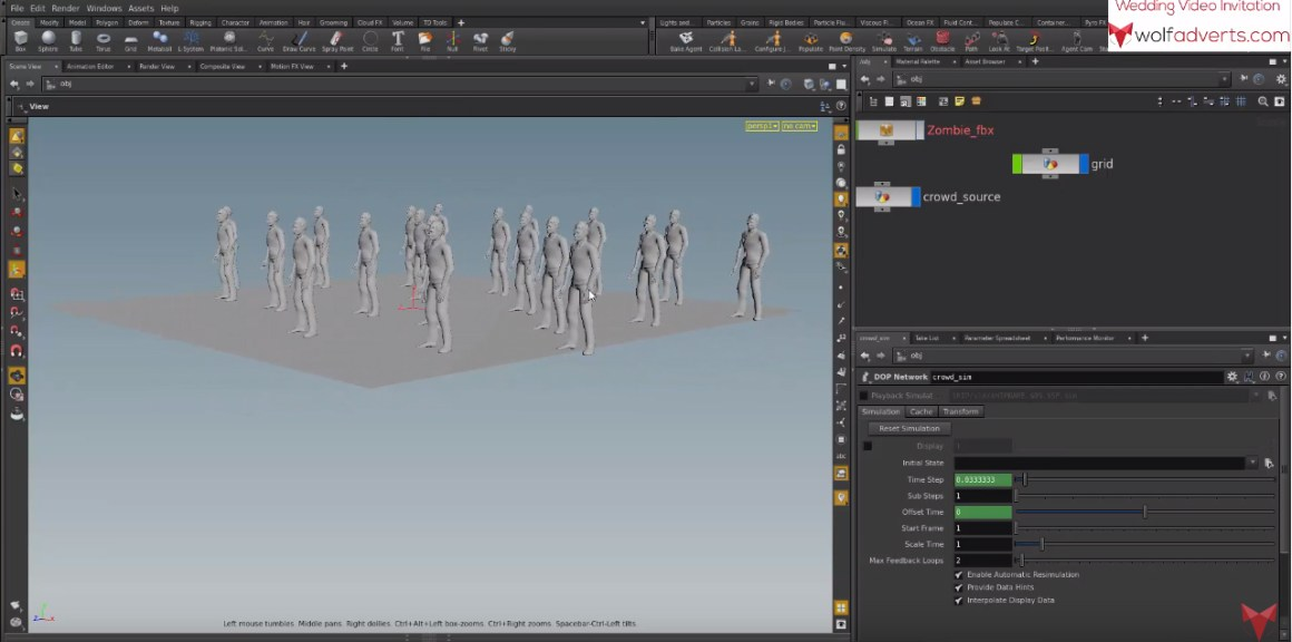 Houdini tutorial- Crowd simulation, FBX import