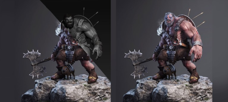 A 3D breakdown for 'The Barbarian' in Maya