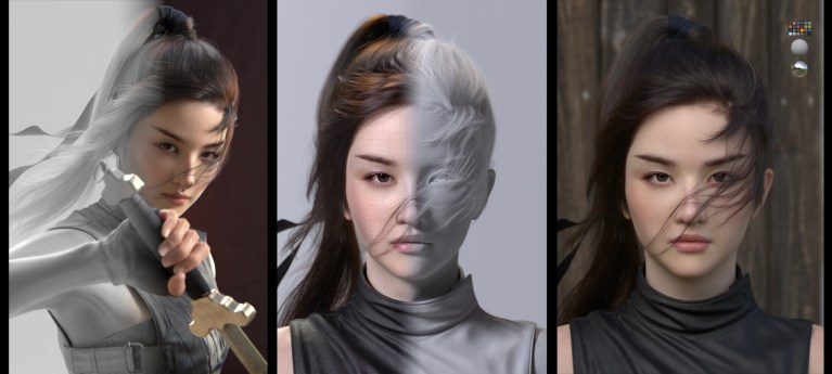 Liu yifei likeness as Mulan (FIN) in Maya by Jung won Park