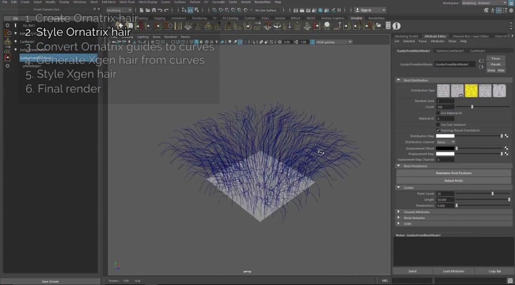 Using Xgen Alongside Ornatrix to Style and Simulate Hair | CGHOW