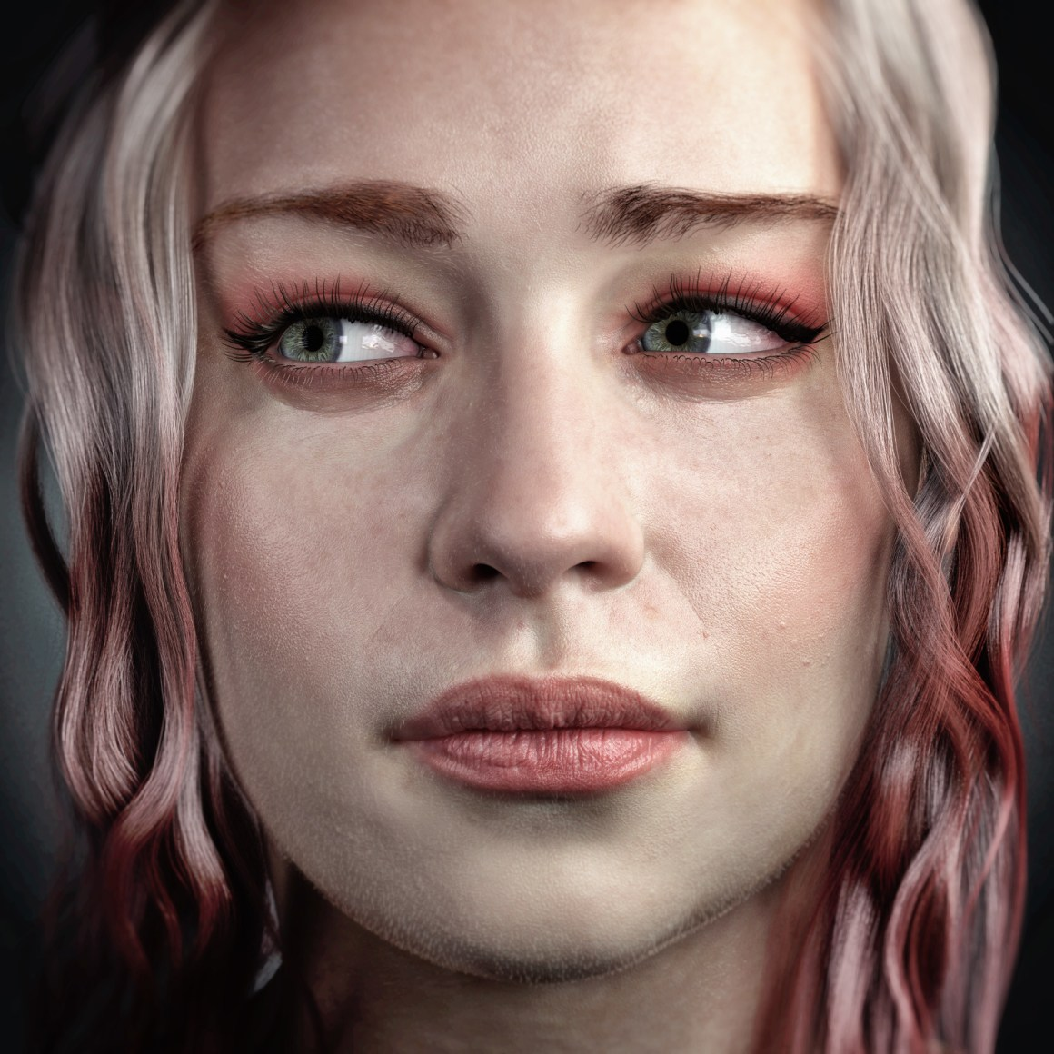Pink female portrait by Vladimir Minguillo