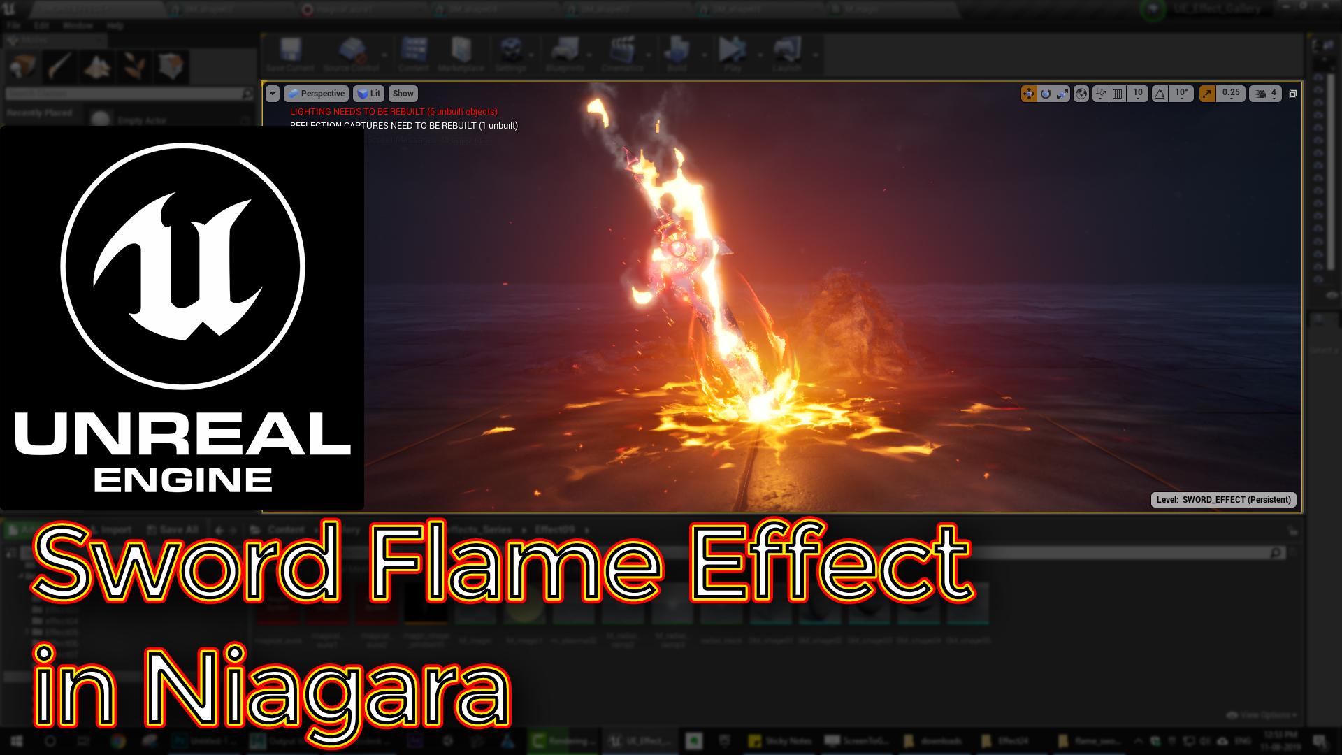 Sword Flame Effect | Unreal Engine Niagara Tutorial