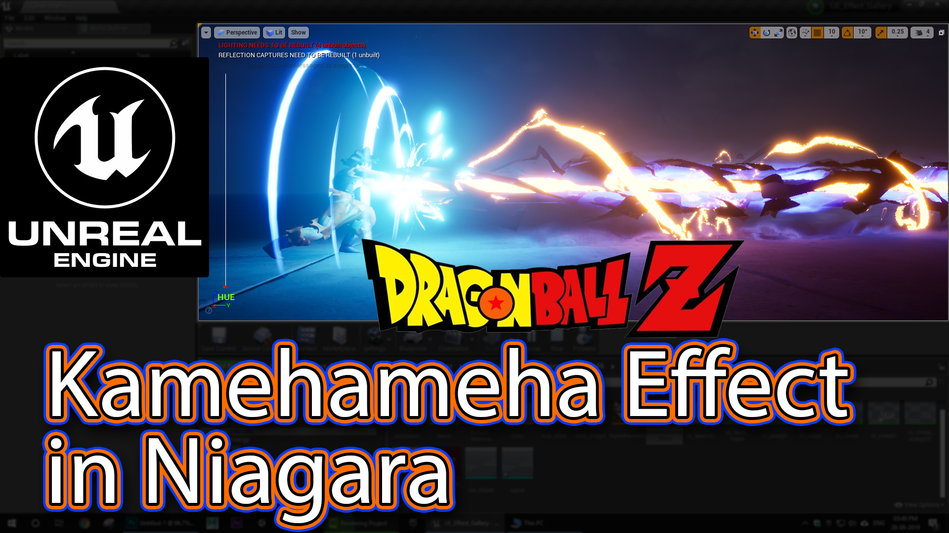 """Kamehameha"" Effect From Dragon Ball in UE4 Niagara Tutorials | 亀亀仙せん人にんのかめはめ波 | Requested |"