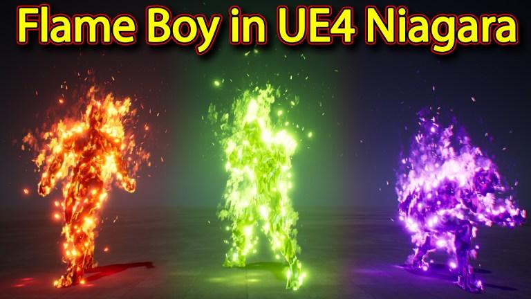 Fire character Effect | Unreal Engine Niagara Tutorials | UE4 Niagara Flame boy
