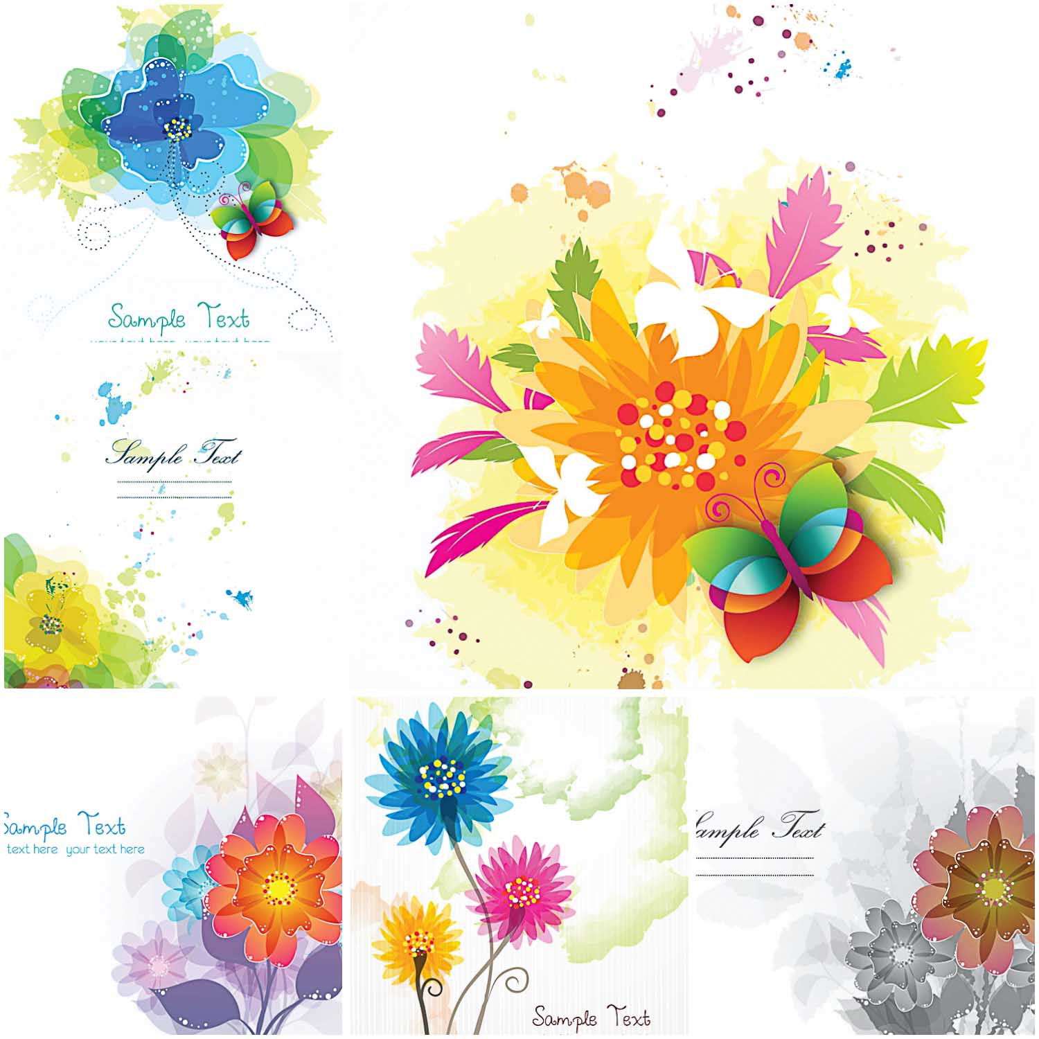 Optimistic Flowers Modern Vector Card Free Download
