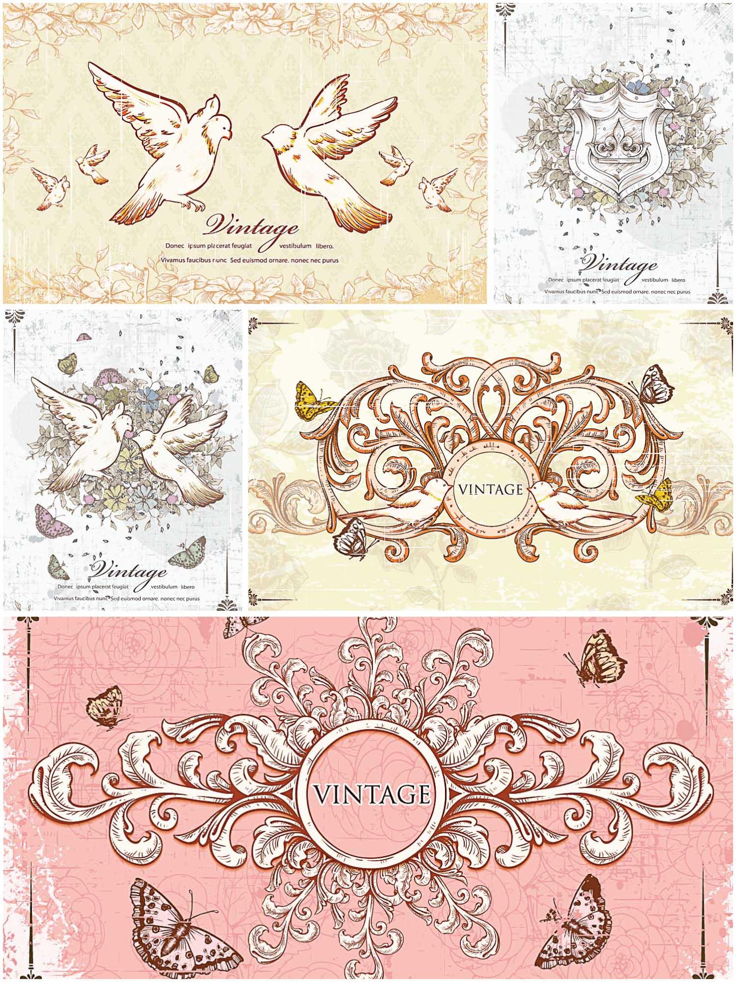 Vintage Frames With Doves Card Set Vector Free Download