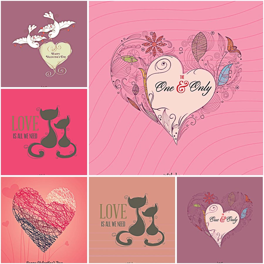Cute Pink Doodles Valentines Day Set Vector Free Download