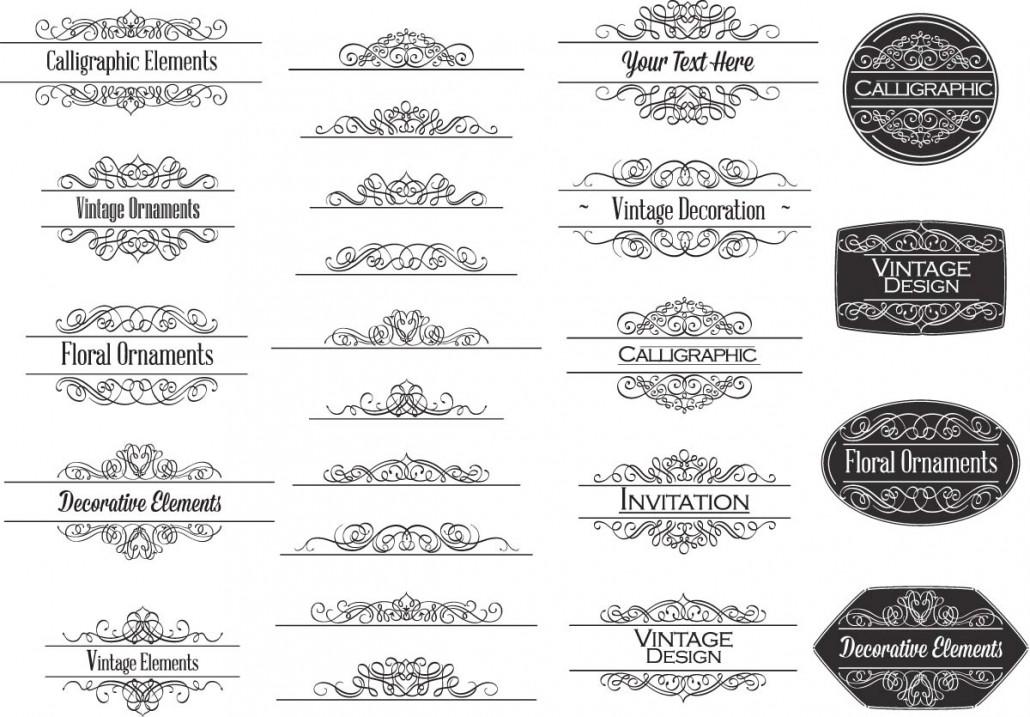 Calligraphic Ornaments For Invitations Vector Free Download