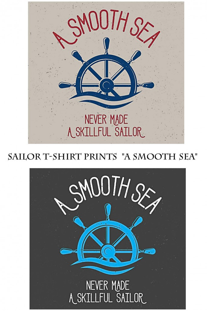 Marine T Shirt Print Vector With Smooth Sea Free Download