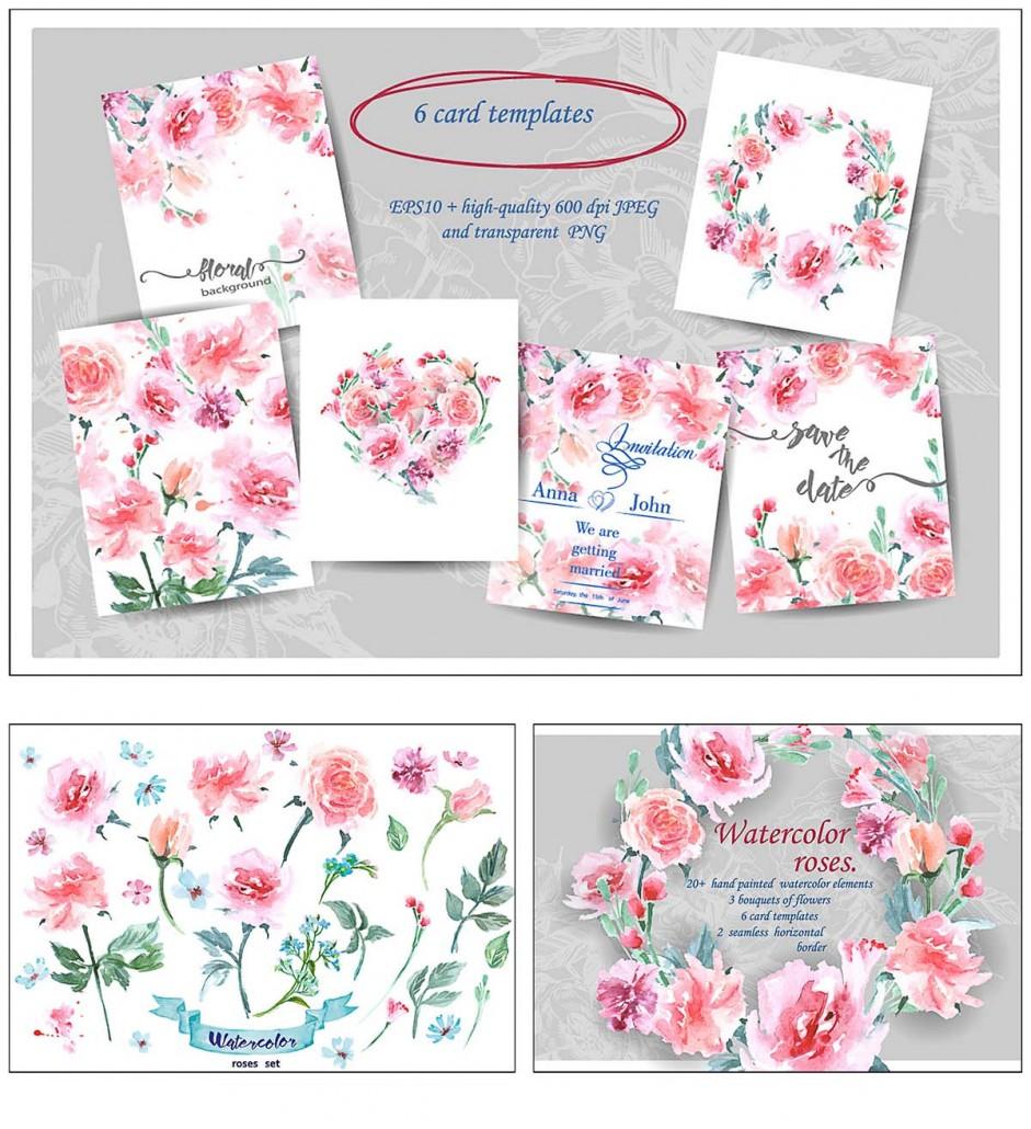 Watercolor Elegant Roses Floral Bundle Free Download