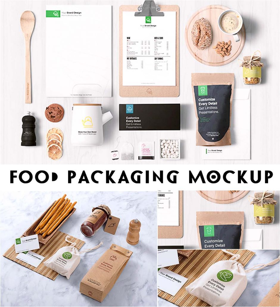 Download Food packaging branding mockups   Free download