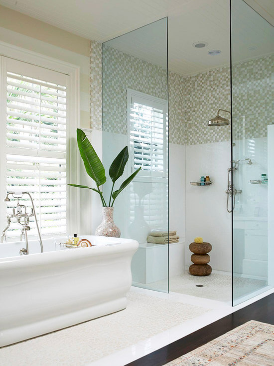Amazing walk in shower and bath in small bathroom that you will love