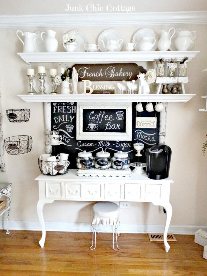 Cheap and Easy coffee station decor and design ideas for creating a little coffee corner that will help you decorate your home. Buffet and Shelves