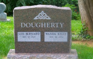 Dakota Mahogany Granite Gravestone with frosted Panels