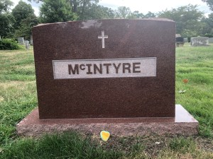 Wausau Red granite monument with raised polished lettering.