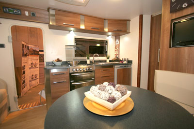 Kitchen in the INOS caravan