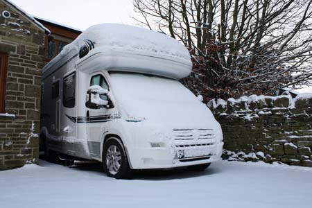 Motorhome in snow