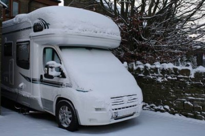 motorhome in winter snow
