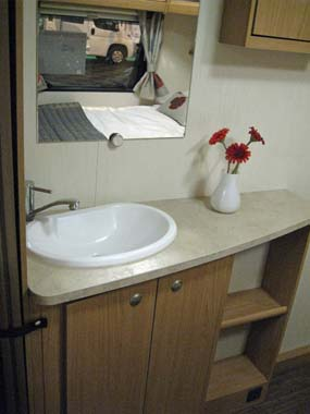 Elddis Xplore 504 Caravan wash basin in bedroom