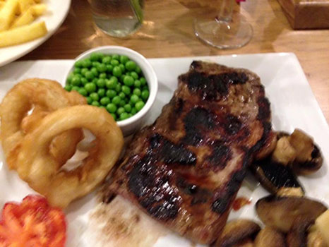 Steak at the Knights Table bar
