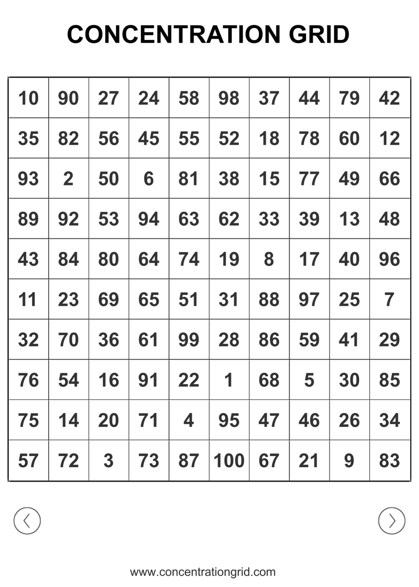 image regarding Number Grid Printable identified as Pattern 10×10 Emphasis GRIDS (PRINTABLE/PDF Document) FOR