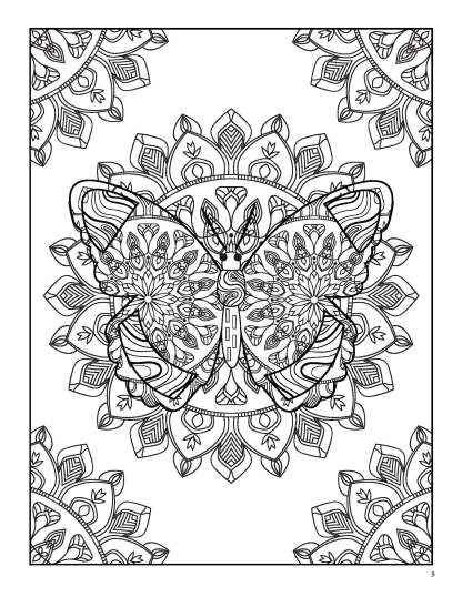 Relaxing Butterflies: Butterfly Mandala Coloring Book image 2