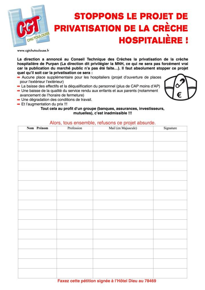 petition contre privatisation de la crèche