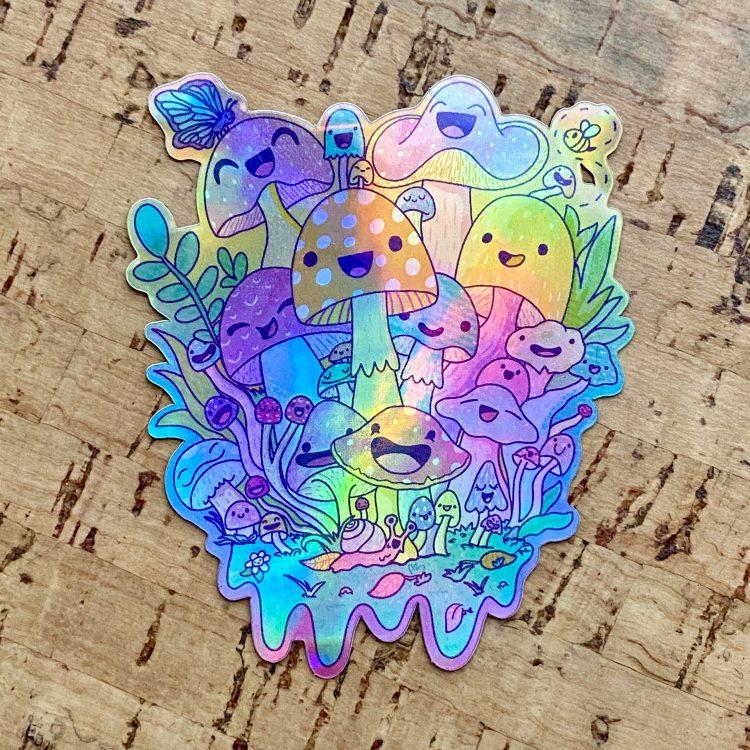Happy Mushroom Psychedelic Vinyl Sticker (Holographic)