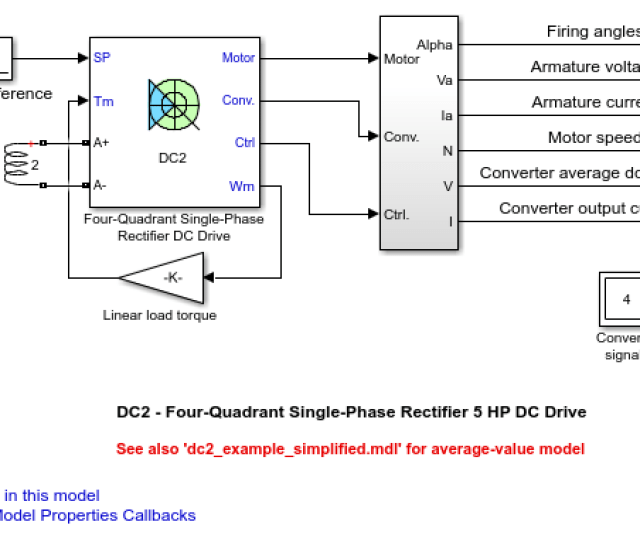 Dc2 Four Quadrant Single Phase Rectifier 5 Hp Dc Drive Matlab Simulink