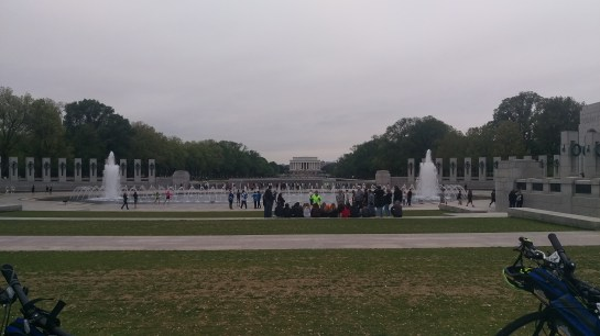 Looking over the WWII Memorial toward Lincoln