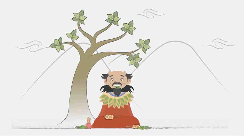 Ilustração de uma das lendas da Camellia sinensis.