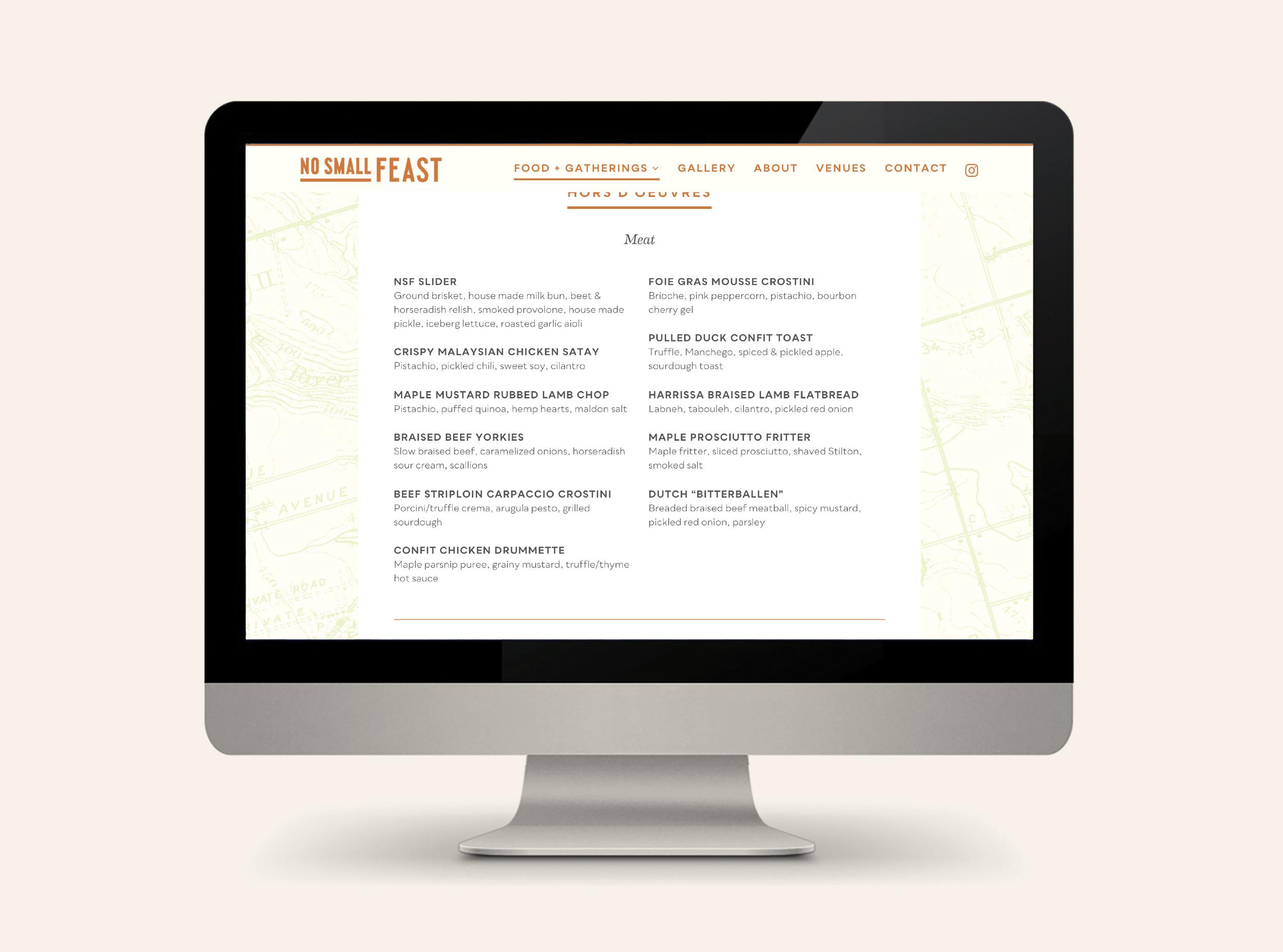 Chad Roberts Design Ltd. No Small Feast Brand Identity Design Website Design Development