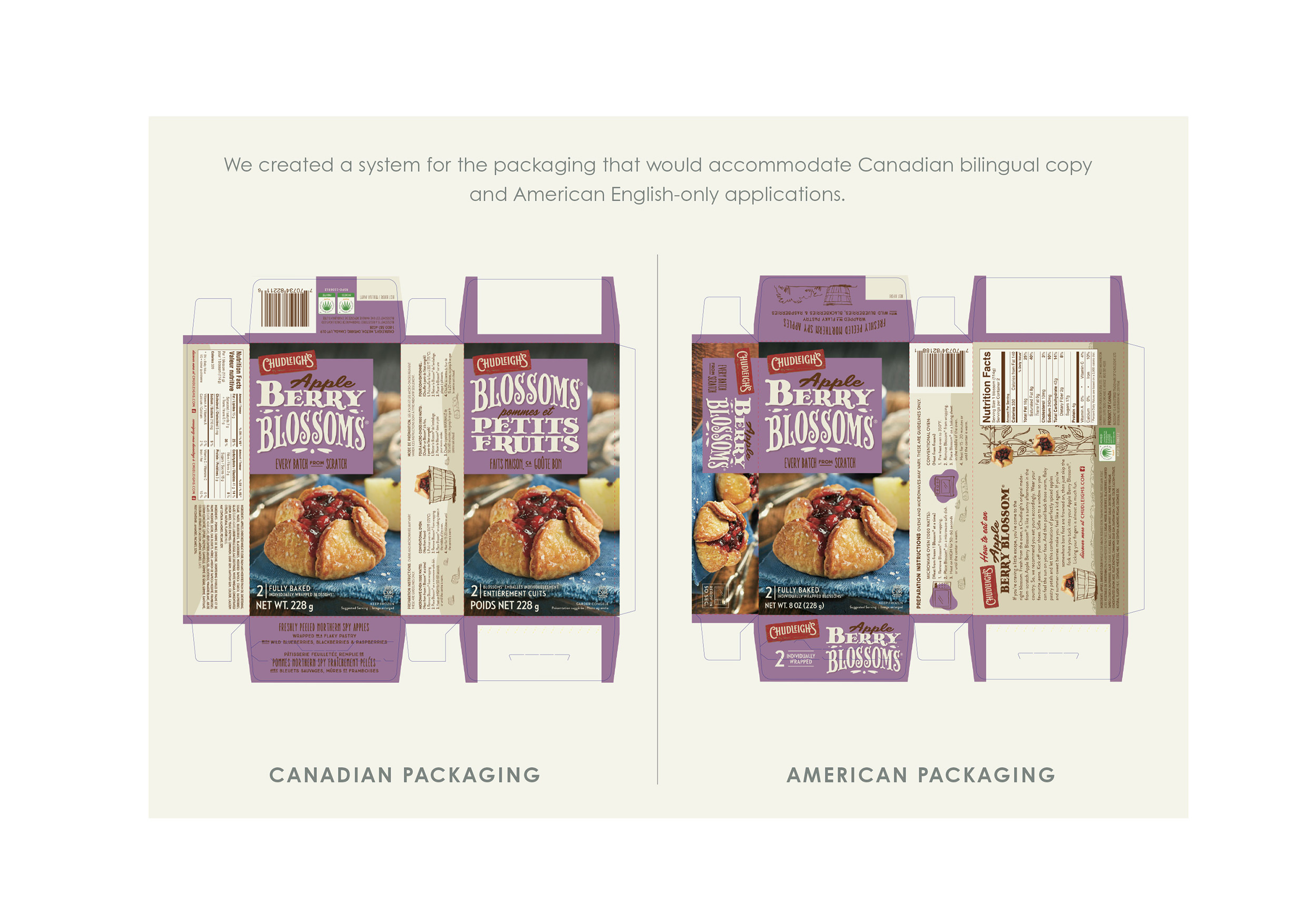 Chad Roberts Design Ltd. Chudleigh's Blossoms Bilingual US Packaging Layout Design
