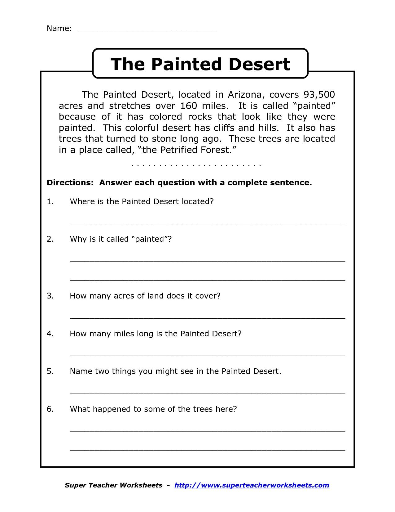 Reading Comprehension Worksheets Grade 4