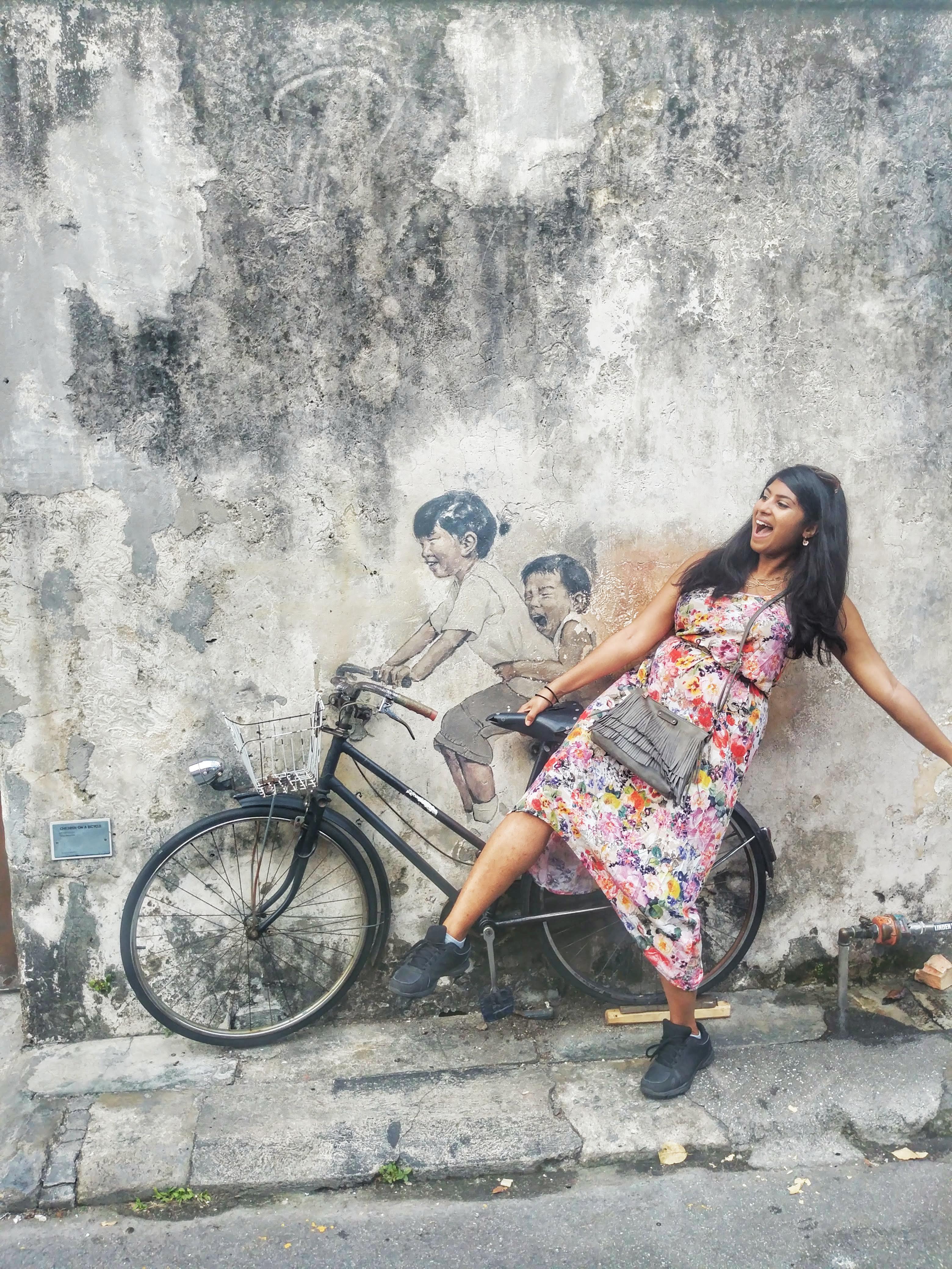bicycle street art penang