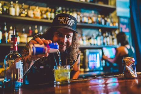 King Tuff bartends before the show at Red Bull Sound Select, in Austin, TX, USA, on 5 June, 2015.