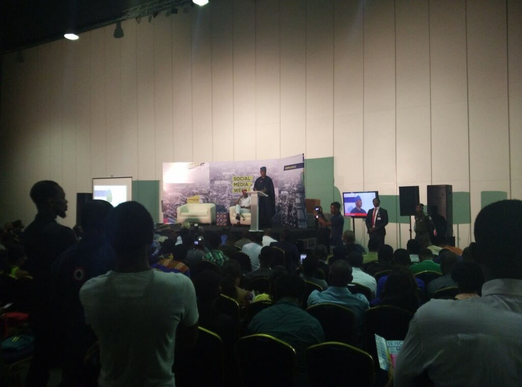 Senate President Bukola Saraki giving a speech at the #SMWLagos 2016